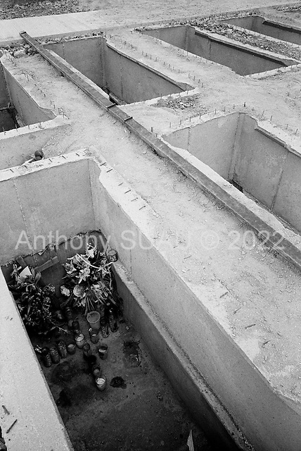 Culiacan, Sinaloa.Mexico.July 4, 2008..Humaya?s cemetery monuments are elaborate tombs for the drug traffickers and are constantly being added. New empty expanding graves are set in long rows. Certain tombs contain images of drug traffickers banishing their automatic weapons. From January 1 to mid-July 2008 there have been 535 drug related killings in Sinolao, many of them were police officers...Several graves are filled before they are finished..
