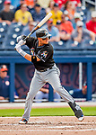 1 March 2017: Miami Marlins infielder Miguel Rojas in Spring Training action against the Houston Astros at the Ballpark of the Palm Beaches in West Palm Beach, Florida. The Marlins defeated the Astros 9-5 in Grapefruit League play. Mandatory Credit: Ed Wolfstein Photo *** RAW (NEF) Image File Available ***