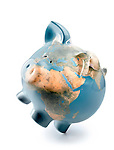 Piggy bank with the world map on it representing global economy balancing on one leg. Isolated on white background with clipping path