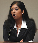 Andrea Walekar, the daughter of Premkumar A. Walekar, a cab driver who was shot October 3, 2002 at a gas station in Aspen Hill, Maryland, testifies during the trial of sniper suspect John Allen Muhammad in courtroom 10 at the Virginia Beach Circuit Court in Virginia Beach, Virginia on October 27, 2003.<br /> Credit: Davis Turner - Pool via CNP