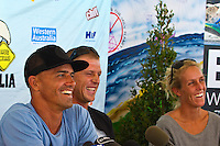 Margaret River, Western Australia.  (Monday, April 4, 2011). The Six Star Prime Telstra Drug Aware Pro kicked off Day one with the Women's competition and the Event Press Conference. Leading the impressive field is current World Surfing champion Kelly Slater (USA), Mick Fanning (AUS) and last year's winner Josh Kerr (AUS). The contest is set to become the biggest surfing event ever held in Western Australia with 26 out of the Top 32 ranked surfers in the world set competing.- Photo: joliphotos.com