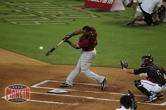 PHOENIX - JULY 11:  Robinson Cano competes during the 2011 MLB Home Run Derby at Chase Field on July 11, 2011 in Phoenix, Arizona. Photo by Brad Mangin