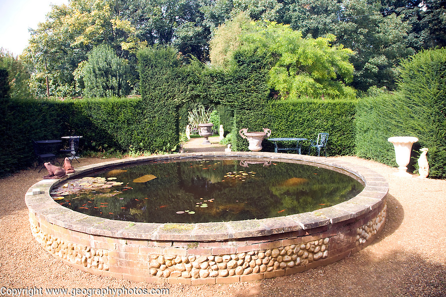 Victorian Raised Garden Ornamental Fish Pond In Courtyard