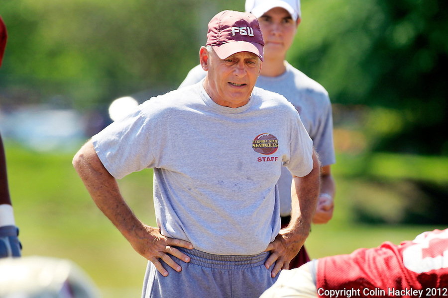 TALLAHASSEE, FLA.4/2/12-FSU040212 CH-FSU Offensive Line Coach Rick Trickett directs during spring football practice April, 2, 2012 in Tallahassee...COLIN HACKLEY PHOTO