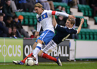 Italy U21 Alessandro Crescenzi controls the ball infront of Scotland U21 David Wotherspoon