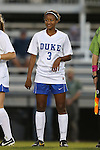 04 October 2014: Duke's Imani Dorsey. The Duke University Blue Devils hosted the University of Louisville Cardinals at Koskinen Stadium in Durham, North Carolina in a 2014 NCAA Division I Women's Soccer match. The game ended in a 0-0 tie after double overtime.