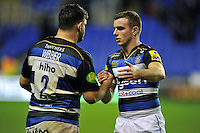 Rob Webber and George Ford of Bath Rugby celebrate after the match. Aviva Premiership match, between London Irish and Bath Rugby on November 7, 2015 at the Madejski Stadium in Reading, England. Photo by: Patrick Khachfe / Onside Images
