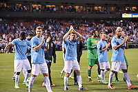 Manchester City players applaud the fans at the end of the game.Manchester City defeated Chelsea 4-3 in an international friendly at Busch Stadium, St Louis, Missouri.