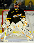 1 December 2007: University of Vermont Catamounts' goaltender Joe Fallon, a Senior from Bemidji, MN, warms up prior to facing the Providence College Friars at Gutterson Fieldhouse in Burlington, Vermont. The Friars shut out the Catamounts 4-0 in front of a capacity crowd of 4003, for the 64th consecutive sell-out at Gutterson...Mandatory Photo Credit: Ed Wolfstein Photo