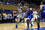 19 December 2014: Duke's Azura Stevens (11) and UMass Lowell's Nicole Riddick (21). The Duke University Blue Devils hosted the University of Massachusetts Lowell River Hawks at Cameron Indoor Stadium in Durham, North Carolina in a 2014-15 NCAA Division I Women's Basketball game. Duke won the game 95-48.