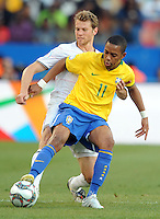 Jonathan Spector (left) of USA and Robinho (11) of Brazil. Brazil defeated USA 3-0 during the FIFA Confederations Cup at Loftus Versfeld Stadium in Tshwane/Pretoria, South Africa on June 18, 2009.