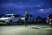 Bells Beach, Torquay, Victoria, Australia (Friday, March 25 2016): Tyler Wright (AUS) - <br /> Round One of the Men's Rip Curl Pro hit the water at 8 am this morning and there were 6 heats run before the tide filled in and the event was called off for the day.<br /> There were light South West to North West winds through the morning with the swell in the 3'-4' range.<br /> <br /> Bells Beach has been hosting surfing tournaments for more than 50 years now, making it the most renowned spot on the raw and rugged southern coast of Victoria, Australia. The list of  Rip Curl Pro event champions is a veritable who's who of surfing icons, including many world champions.<br /> <br /> Surfing's greats have a way of dominating Bells. Mark Richards, Kelly Slater, and Mick Fanning all have four Bells trophies; Michael Peterson and Sunny Garcia, three; While Simon Anderson, Tom Curren, Joel Parkinson, Andy Irons, and Damien Hardman each grabbed a pair.<br /> <br /> The story is similar on the women's side. Lisa Andersen and Stephanie Gilmore have four Bells titles; Layne Beachley and Pauline Menczer, three; while Kim Mearig and Sally Fitzgibbons each have two.<br /> <br /> The 2016 event is about to kick off tomorrow and there was a packed warm up session at Bells this morning. <br /> Photo: joliphotos.com