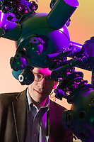 Lawrence Krauss, Professor of Astrophysics, Case Western Reserve University. Photographed in Cleveland Museum of Natural History's Shafran Planetarium with the Skymaster ZKP3/S projector. For Cleveland Magazine, March 2007.