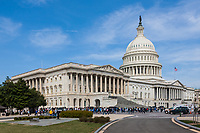 Visitors head for the southeast entrance to the  US Capitol Building in Washington DC