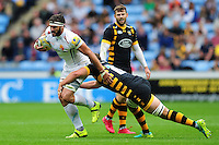 Don Armand of Exeter Chiefs takes on the Wasps defence. Aviva Premiership match, between Wasps and Exeter Chiefs on September 4, 2016 at the Ricoh Arena in Coventry, England. Photo by: Patrick Khachfe / JMP