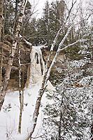 Frozen Munising Falls in Pictured Rocks National Lakeshore in Munising Michigan Upper Peninsula.