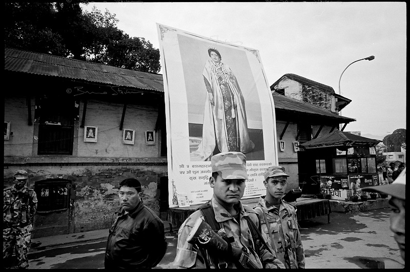 Kathmandu, Nepal, February 2005.On February 1st, King Gyanendra has decreted a state of emergency, suspending all democratic rights. Heavy police and military presence in the streets.