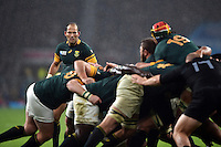 Fourie du Preez of South Africa watches as the forwards compete in a maul. Rugby World Cup Semi Final between South Africa and New Zealand on October 24, 2015 at Twickenham Stadium in London, England. Photo by: Patrick Khachfe / Onside Images