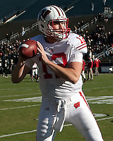 Wisconsin quarterback Nate Tice. The Wisconsin Badgers defeated the Purdue Boilermakers 34-13 at Ross-Ade Stadium, West Lafayette, Indiana on November 6, 2010.
