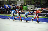 SCHAATSEN: HEERENVEEN: IJsstadion Thialf, 17-01-2015, Marathonschaatsen, KPN Marathon Cup 14, Topdivisie Dames, Francesca Lollobrigida (#96), Foske Tamar van der Wal (#90), Yvonne Spigt (#44), Elma de Vries (#87), ©foto Martin de Jong