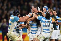 Tempers flare between Tomas Lavanini of Argentina and Eben Etzebeth of South Africa. Rugby World Cup Bronze Final between South Africa and Argentina on October 30, 2015 at The Stadium, Queen Elizabeth Olympic Park in London, England. Photo by: Patrick Khachfe / Onside Images