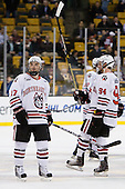 Steve Silva (Northeastern - 17), Tyler McNeely (Northeastern - 94) - The Northeastern University Huskies defeated the Harvard University Crimson 4-0 in their Beanpot opener on Monday, February 7, 2011, at TD Garden in Boston, Massachusetts.