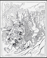 BNPS.co.uk (01202 558833)<br /> Pic: CardiffUniversity/BNPS<br /> <br /> 'Dai Pepper on the Somme', 1917, a fictional character created by Staniforth.<br /> <br /> The wartime cartoons of one of Britain's most popular 20th century cartoonists', which inspired millions of people, have emerged.<br /> <br /> Joseph Morewood Staniforth produced more than 1,300 cartoons during the First World War for the News of the World and the Western Mail in Wales.<br /> <br /> His most memorable cartoons included a rousing call to arms following Lord Kitchener's plea for recruits, Winston Churchill dressed as a bargeman after the failed Dardenelles campaign and Kaiser Wilhelm II of Germany depicted as a beggar. <br /> <br /> In another cartoon he paid homage to William Shakespeare and he even created his own Welsh war hero, Dai Pepper, who captured a German dugout wearing a coal miner's 'curling box' instead of a helmet.<br /> <br /> Following his death in 1921, he was described by Prime Minister Lloyd George as 'one of the most distinguished cartoonists of his generation' whose patriotic cartoons had 'rendered a great national service'.