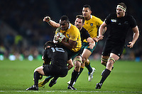 Tevita Kuridrani of Australia takes on the New Zealand defence. Rugby World Cup Final between New Zealand and Australia on October 31, 2015 at Twickenham Stadium in London, England. Photo by: Patrick Khachfe / Onside Images
