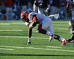 Jacksonville State running back Calvin Middleton (3) is tackled by Ole Miss safety Johnny Brown (20) at Vaught-Hemingway Stadium in Oxford, Miss. on Saturday, September 4, 2010. Jacksonville State won 49-48 in double overtime.