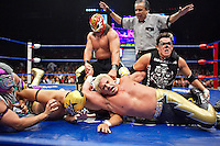 Luchadores (fighters) involved in a six person melee. Lucha Libre is a style of wrestling started in Mexico in 1933. The name means Free Fight, and matches tend to be focussed on spectacle and theatre with fans cheering for their favourite characters, who wear masks while jumping from the ropes, flipping opponents, and occasionally crashing into the crowd..&copy;Jacob Silberberg/Panos/Felix Features.