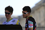 Australian National Champion Miles Scotson (AUS) and Olympic Champion Greg Van Avermaet (BEL) BMC Racing Team at sign on for the 115th edition of the Paris-Roubaix 2017 race running 257km Compiegne to Roubaix, France. 9th April 2017.<br /> Picture: Eoin Clarke | Cyclefile<br /> <br /> <br /> All photos usage must carry mandatory copyright credit (&copy; Cyclefile | Eoin Clarke)