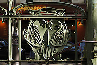 """Subway station """" Abbesses """" with shelter of roof, 1900, Paris 18th, France, built by architect Hector Guimard (Lyon, 1867 - New York, 1942) Picture by Manuel Cohen"""