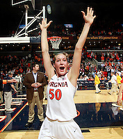 CHARLOTTESVILLE, VA- NOVEMBER 20: Chelsea Shine #50 of the Virginia Cavaliers raises her hands to the crowd after defeating the Tennessee Lady Volunteers during the game on November 20, 2011 at the John Paul Jones Arena in Charlottesville, Virginia. Virginia defeated Tennessee in overtime 69-64. (Photo by Andrew Shurtleff/Getty Images) *** Local Caption *** Chelsea Shine