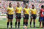 16 August 2015: Match officials. From left: Assistant Referee Veronica Perez (USA), Fourth Official Danielle Chesky (USA), Referee Ekaterina Koroleva (USA), and Assistant Referee Felisha Mariscal (USA). The United States Women's National Team played the Costa Rica Women's National Team at Heinz Field in Pittsburgh, Pennsylvania in an women's international friendly soccer game. The U.S. won the game 8-0.