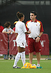 09 December 2007: USC's Lauren Brown (6) and head coach Ali Khosroshahin (r). The University of Southern California Trojans defeated the Florida State University Seminoles 2-0 at the Aggie Soccer Stadium in College Station, Texas in the NCAA Division I Womens College Cup championship game.