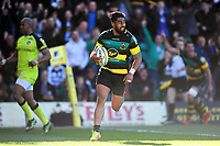 Ahsee Tuala of Northampton Saints runs in a try in the first half. Aviva Premiership match, between Northampton Saints and Leicester Tigers on March 25, 2017 at Franklin's Gardens in Northampton, England. Photo by: Patrick Khachfe / JMP