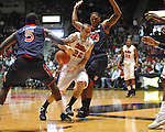 "Ole Miss' Marshall Henderson (22) vs. Auburn guard Frankie Sullivan (23) and Auburn's Shaquille Johnson (5) at the C.M. ""Tad"" Smith Coliseum on Saturday, February 23, 2013.  (AP Photo/Oxford Eagle, Bruce Newman)"
