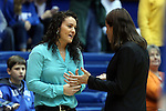 23 November 2014: Marquette head coach Carolyn Kieger (left) with Duke head coach Joanne P. McCallie (right). The Duke University Blue Devils hosted the Marquette University Golden Eagles at Cameron Indoor Stadium in Durham, North Carolina in a 2014-15 NCAA Division I Women's Basketball game. Duke won the game 83-51.