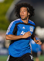 Justin Morrow of Earthquakes warms up during practice before the game against the Earthquakes at Buck Shaw Stadium in Santa Clara, California.  San Jose Earthquakes defeated New York Red Bulls, 4-0.