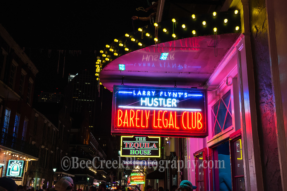 This neon sign is from Larry Flynt's Hustler Barely Legal Club neon sign on Bourbon Street in New Orleans.