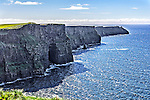 The Cliffs of Moher, a popular tourist attraction located on the west coast of Ireland south of Galway.
