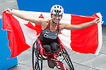 RIO DE JANEIRO - 10/9/2016:  Michelle Stilwell wins the Women's 400m - T52 Final with a new Paralympic record in the Olympic Stadium during the Rio 2016 Paralympic Games. (Photo by Matthew Murnaghan/Canadian Paralympic Committee