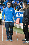 St Johnstone v Dundee&hellip;11.03.17     SPFL    McDiarmid Park<br />Chris Kane on crutches talks with physio Mel Stewart<br />Picture by Graeme Hart.<br />Copyright Perthshire Picture Agency<br />Tel: 01738 623350  Mobile: 07990 594431