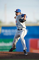 St. Lucie Mets starting pitcher Justin Dunn (19) delivers a warmup pitch during a game against the Dunedin Blue Jays on April 20, 2017 at Florida Auto Exchange Stadium in Dunedin, Florida.  Dunedin defeated St. Lucie 6-4.  (Mike Janes/Four Seam Images)