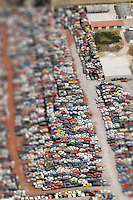 Aerial photograph of a car junk yard, Toluca, Mexico