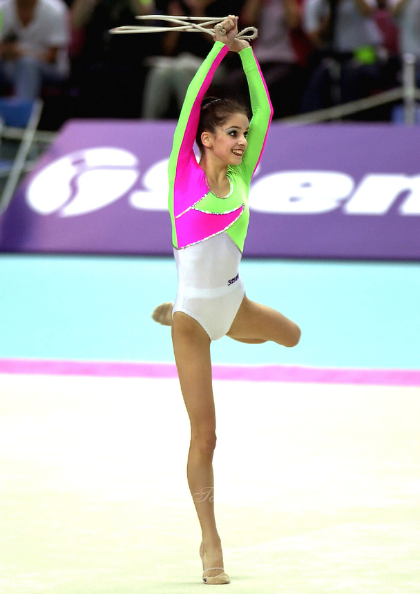 2 OCTOBER 1999 - OSAKA, JAPAN: Teodora Alexandrova of Bulgaria performs with rope at the 1999 Rhythmic Gymnastics World Championships in Osaka, Japan. Teodora placed 8th in the individual all around.