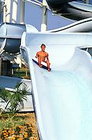 Riccione, Aquafan, Il pi&ugrave; famoso parco acquatico della riviera romagnola con scivoli, spazi verdi e piscine.<br /> Riccione, Aquafan, the most famous water park on the Adriatic Riviera with slides, green spaces and swimming pools.