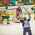 4 January 2014:  Yale University Bulldog forward Jesse Root, a Senior from Pittsburgh, PA, celebrates a third period goal against the University of Vermont Catamounts at Gutterson Fieldhouse in Burlington, Vermont. With an empty net and seconds remaining, the Cats came back to tie the game 3-3 against the 10th seeded Bulldogs. Mandatory Credit: Ed Wolfstein Photo *** RAW (NEF) Image File Available ***