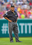 27 July 2013: MLB Umpire Kerwin Danley stands at third during a game between the New York Mets and the Washington Nationals at Nationals Park in Washington, DC. The Nationals defeated the Mets 4-1. Mandatory Credit: Ed Wolfstein Photo *** RAW (NEF) Image File Available ***