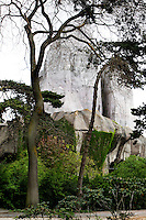 Detail of Big Cat House with Grand Rocher (Great Rock) in the background, Parc Zoologique de Paris, or Zoo de Vincennes, (Zoological Gardens of Paris, also known as Vincennes Zoo), 1934, by Charles Letrosne, 12th arrondissement, Paris, France, pictured on April 12, 2011 at midday. In November 2008 the 15 hectare Zoo, part of the Museum National d'Histoire Naturelle (National Museum of Natural History) closed its doors to the public and renovation works will start in September 2011. These pictures capture the zoo, deserted by all the animals except giraffes and lemurs, invaded by nature as it awaits renovation. The Zoo is scheduled to re-open in April 2014. Picture by Manuel Cohen .